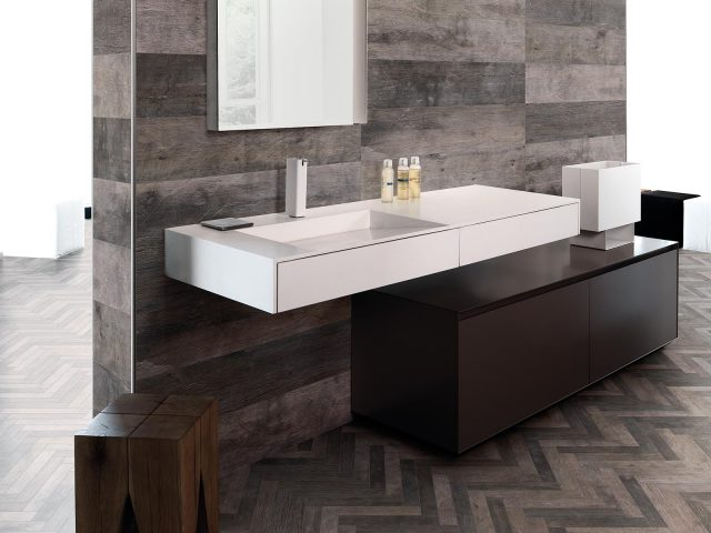 Fearless Wood-Look Porcelain Tile Collection with Grey Herringbone Decor