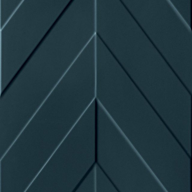 Multidimensional Blue Chevron 3D Ceramic Wall Tile