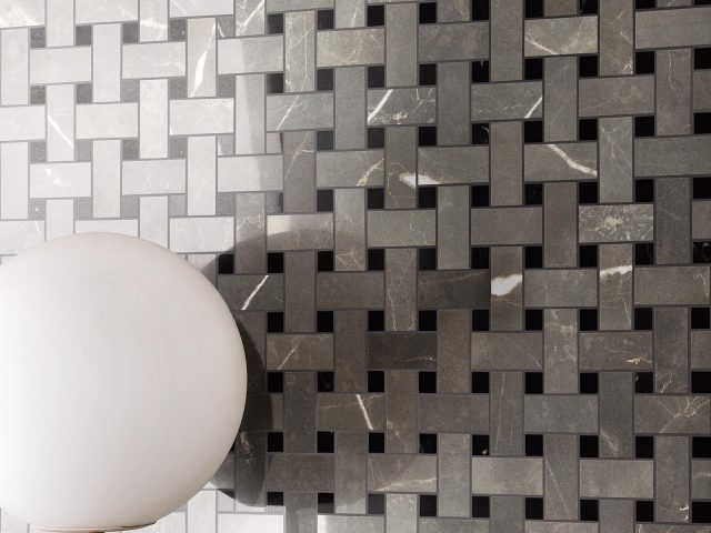 Bateau Imperial Grey Basket Weave Mosaic Tile Installation