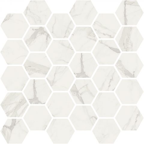 Bateau White Statuario Hexagon Mosaic