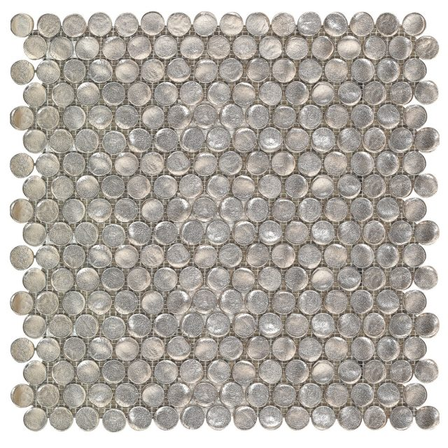 Blossom Grey Glass Pennies Tile