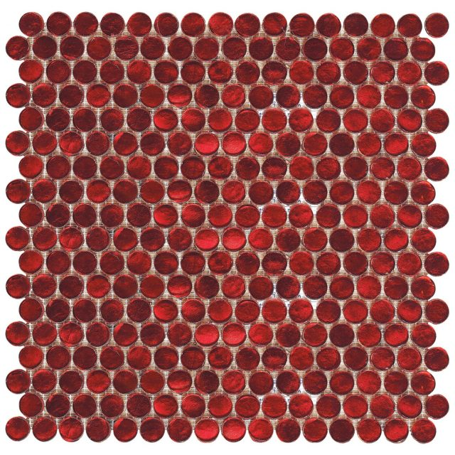 Blossom Ruby Red Glass Pennies Tile