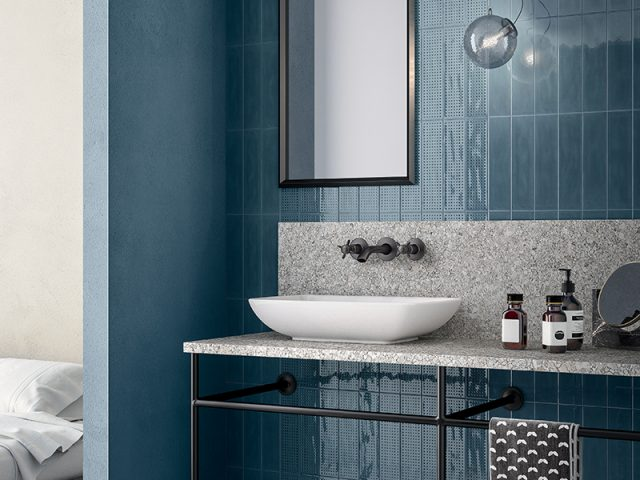 Effervescent Vibrant Color Ceramic Tiles - Blue Installation