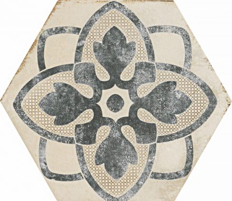 Resort Ivory Patterned Hex Decor 1