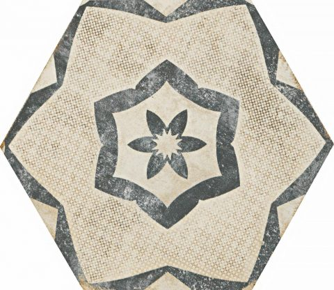 Resort Ivory Patterned Hex Decor 2