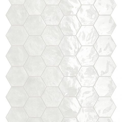Placid White Hex Mosaic Wall Tile